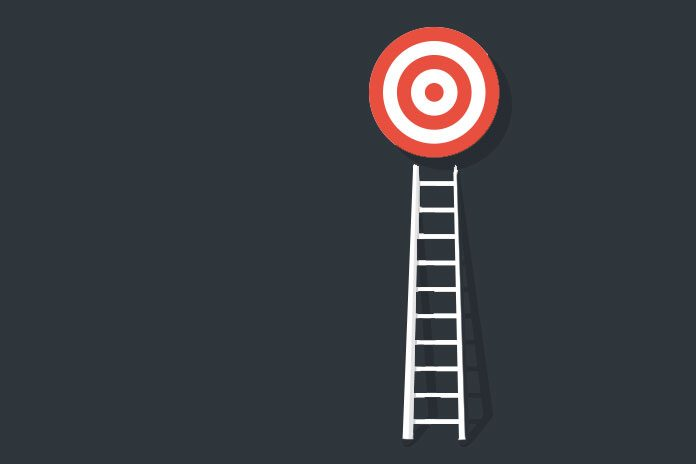 Image of a target on top of a ladder to show How to get a pay rise
