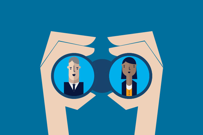 Image of two people as seen through binoculars to show The changing pharma workforce post-COVID