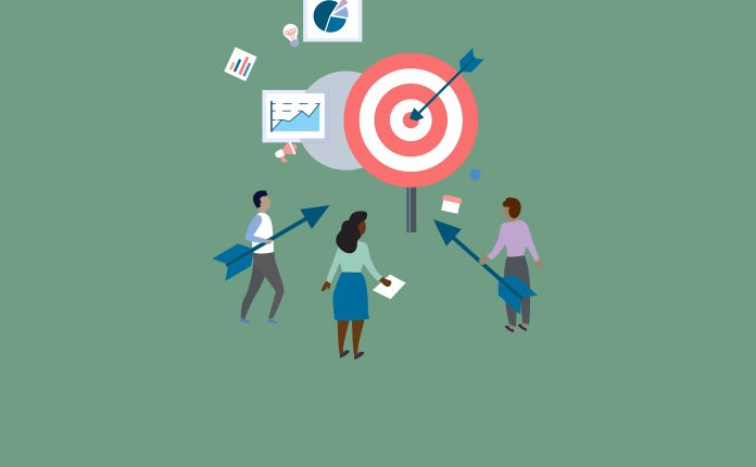 Image of a groupw of people pointing large arrows at a target with charts and graphs around them to show The importance of trust and values in pharma company culture
