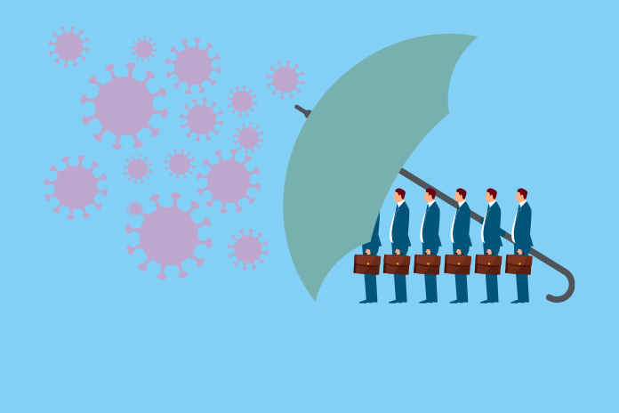 Image of a line of business people behind a big umbrella protecting them from the coronavirus to show Making a difference: How pharma supported the COVID-19 pandemic effort