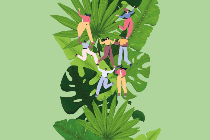 Image of people supporting each other to climb a plant to show Pharma career advice from top professionals